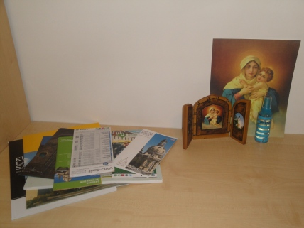 The Blessed Mother, my LG's Pilgrim MTA, and some Lourdes water from Daniel :)