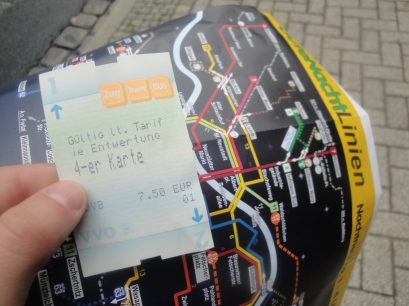My bus ticket and map of the bus and tram lines