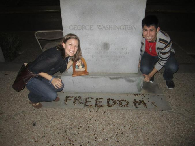 This is me and Joey near the George Washington statue on UT's campus. We love freedom, clearly.